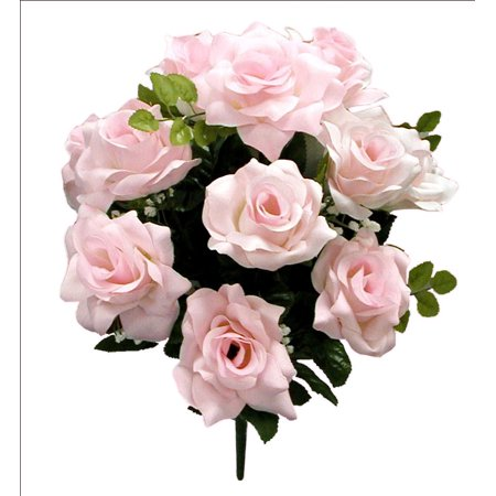 (Admired By Nature 12 Stems Artificial Blooming Veined Satin Rose Flowers Bush, Pink)