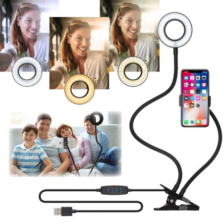 Selfie Ring Light with Cell Phone Holder Stand for Live Stream/Makeup,LED Camera Lighting [3-Light Mode] [10-Level Brightness] with Flexible Arms Compatible iPhone 8 7 6 Plus X 6s SE (Iphone 7 Plus Portrait Mode For Android)