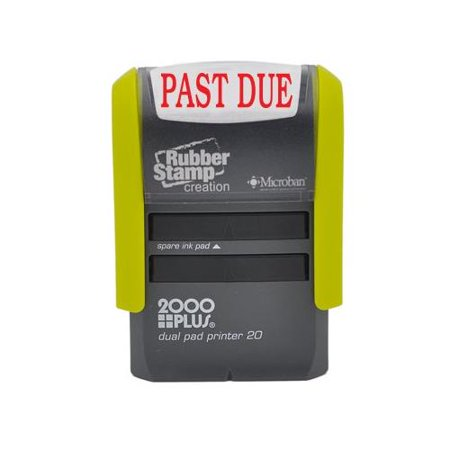 PAST DUE Self Inking Stamp, Printer 20 with 2 pads - Red (Printed Stamp)