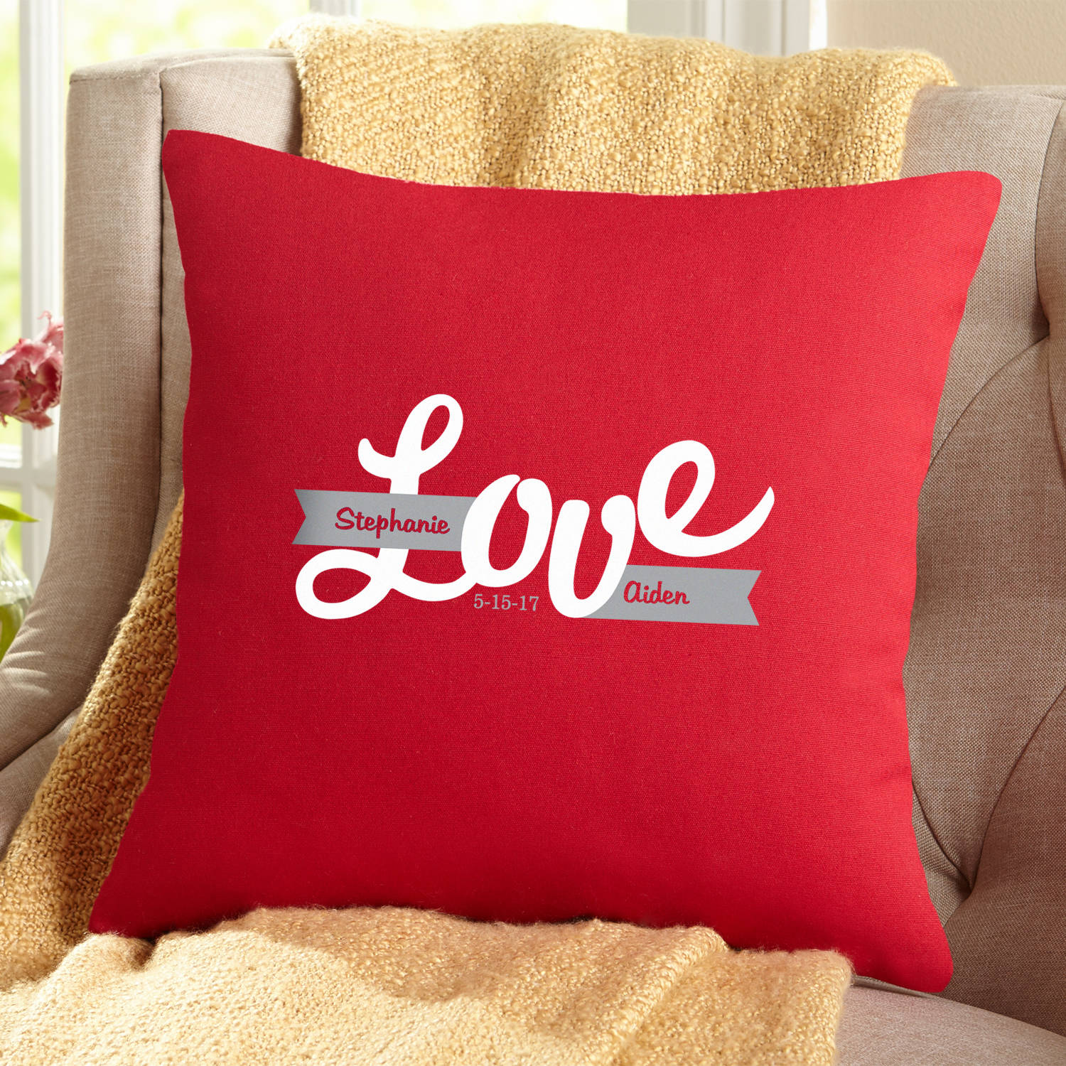 Personalized Banner of Love Throw Pillow