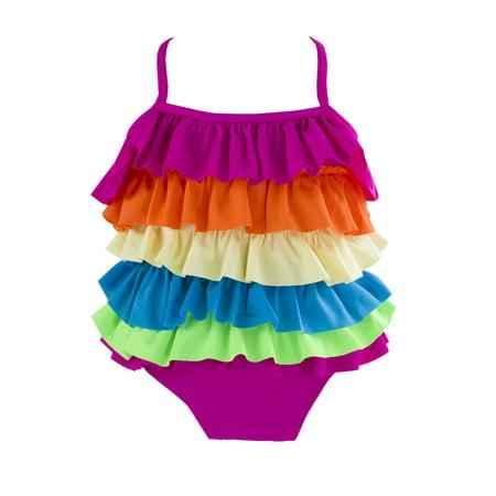 Styles I Love Kid Girls Cute Rainbow Ruffle Layer One-Piece Adjustable Straps Swimsuit Beach Bathing Suit (Rainbow Ruffle, L/4-5 Years)