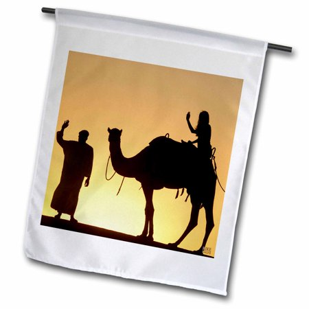 3dRose Desert Camels are a way of transportation,and are also used for racing at Dubai Camel Racecourse 2 - Garden Flag, 12 by 18-inch ()
