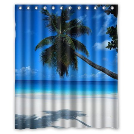 EREHome Sandy Tropical Paradise Beach with Palm Trees and the Sea Ocean Shower Curtain Polyester Fabric Bathroom Decorative Curtain Size 60x72 Inches - image 1 de 1