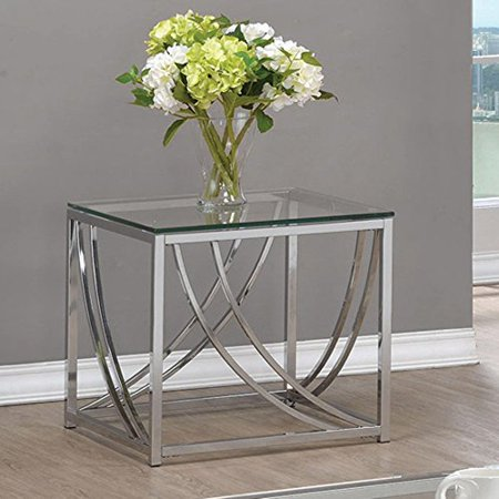 Coaster 720497-CO Glass Top End Table, Chrome