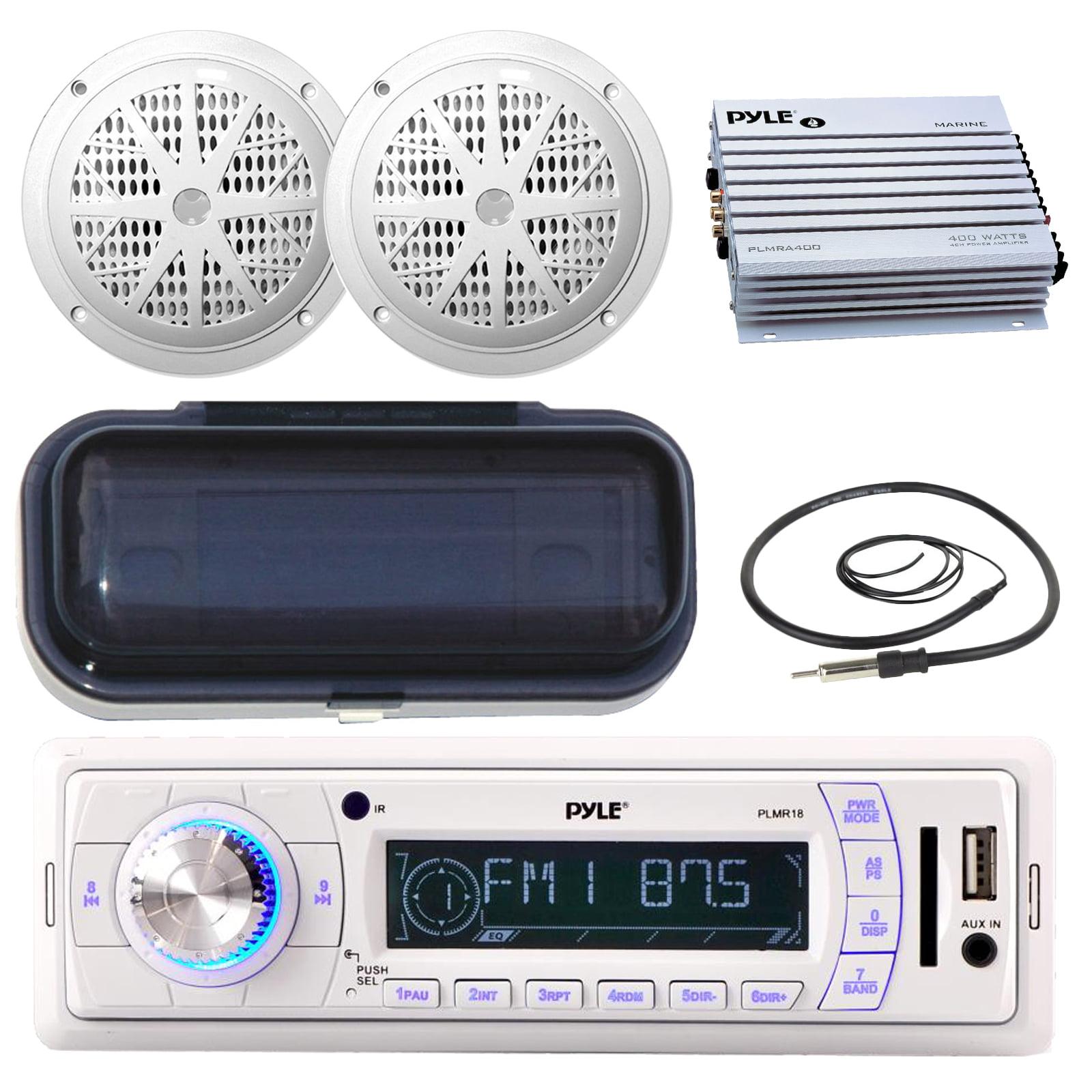 Pyle PLMR18 200-Watt Marine AM FM SD USB Aux Remote Radio...