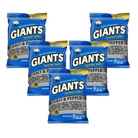 Giants Sunflower Seeds ((5 Pack) GIANT Snacks GIANTS Sunflower Seeds Inshell Salt & Pepper)