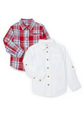 Wonder Nation Baby Toddler Boys Button Down Shirts, 2pk