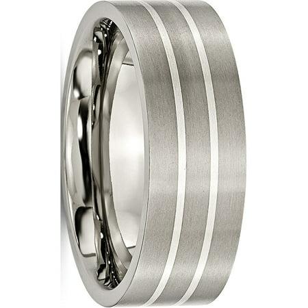 JbSP- Titanium Sterling Silver Inlay Flat 8mm Brushed Band - image 6 de 6