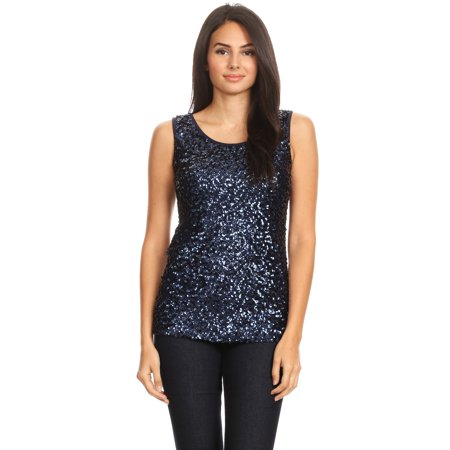 Anna-Kaci Womens Sparkle & Shine Glitter Sequin Embellished Sleeveless Round Neck Tank Top (old navy ladies tank tops)