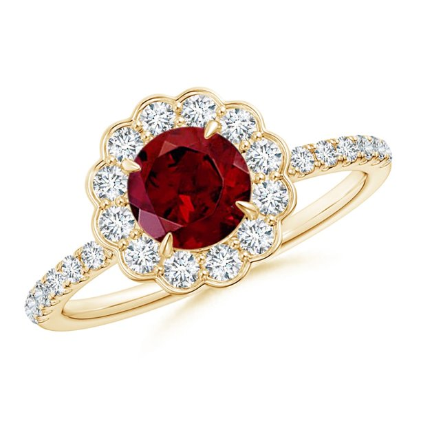 Valentine Jewelry Gift - Vintage Style Garnet Flower Ring with Diamond Accents in 14K Yellow Gold (6mm Garnet) - SR1053GD-YG-AAA-6-6