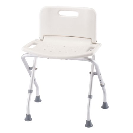 Folding Shower Chair (Folding Bath Seat with Back Support, Portable Shower Bench, White)