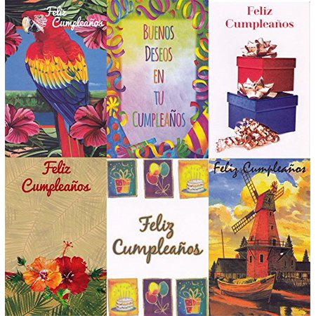 Assorted Spanish Feliz Cumpleanos Birthday Greeting Cards 36 Pack