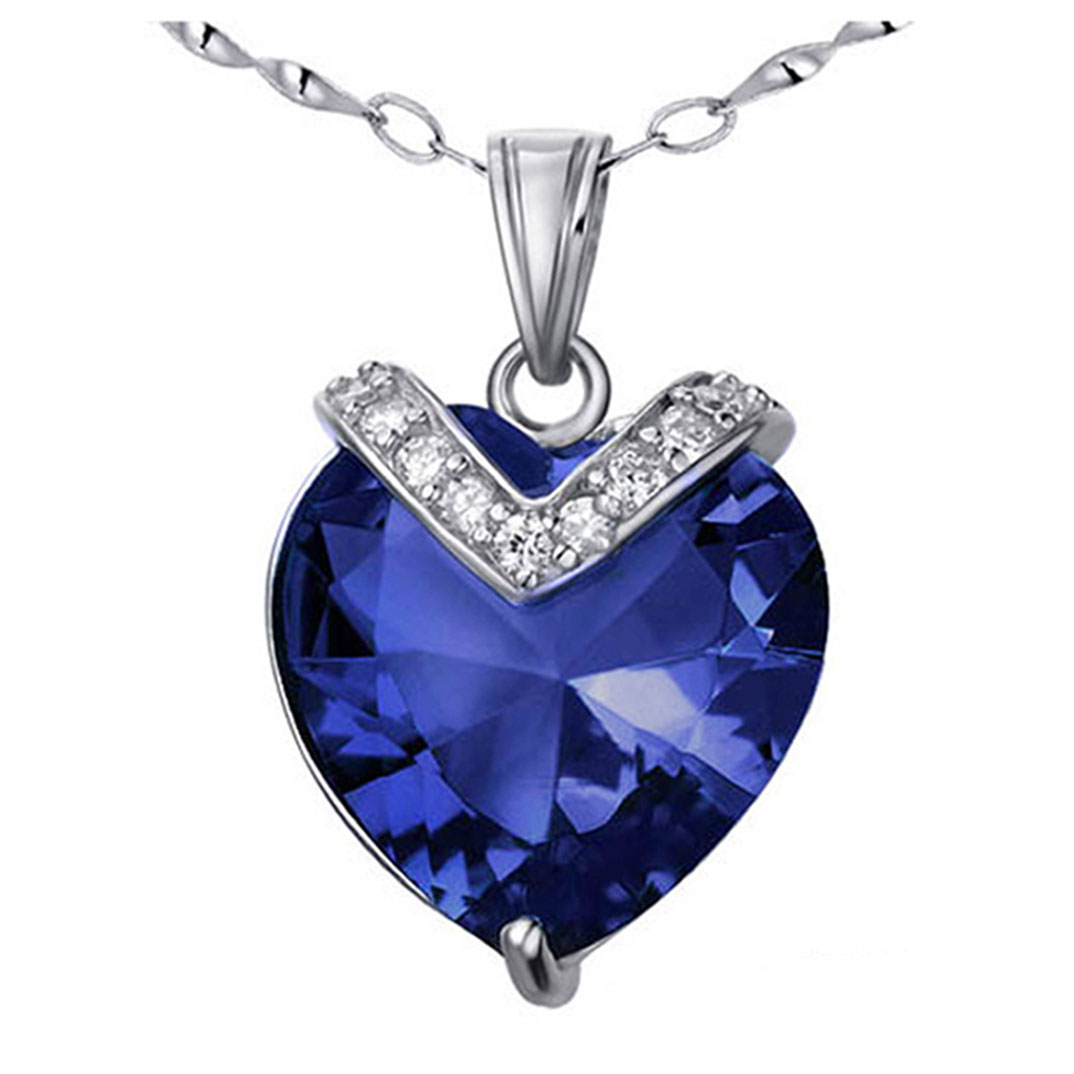 Devuggo 10.4 Carat TCW Heart Shaped Gemstone Created Blue Sapphire 925 Sterling Silver Necklace Pendant with free... by