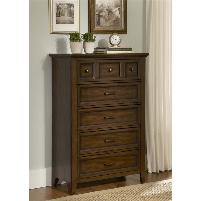Liberty Furniture Laurel Creek 5 Drawer Chest in Cinnamon