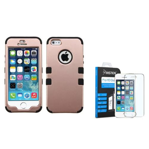 iPhone SE / 5S / 5 Tuff Hard Dual Layer Case by Insten - Rose Gold/Black (Bundle with Shatter-Proof Glass Screen Protector) (Case with Glass Screen Protector Bundle)
