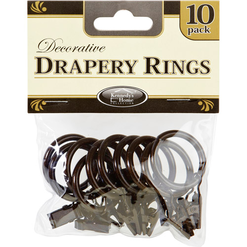 Rings for Curtain Rods, Bronze, Pack of 10