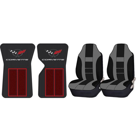 Official Licensed Corvette C3 68-82 Red Floor Mats & UAA Gray/Black Universal High Back Front Seat Covers ()