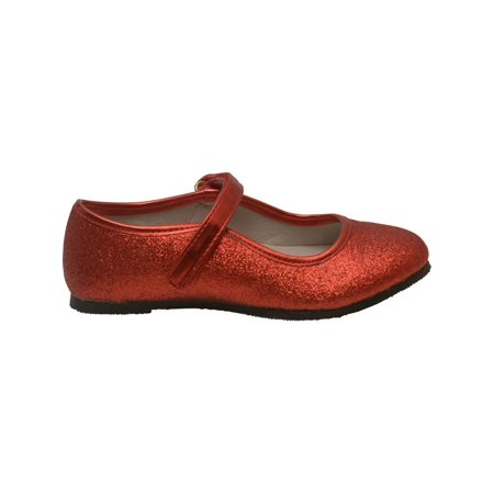 Girls Red Hook and Loop Ankle Strap Glitter Flats 11-4 - Girls Red Flats
