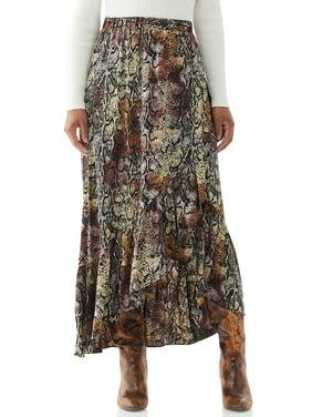 Scoop Women's Printed High-Low Maxi Skirt
