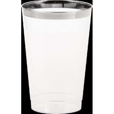 Silver Rimmed Clear Plastic Glass, 12 oz, 8pk
