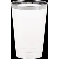 Silver Rimmed Clear Plastic Glass, 12 oz, 8pk by Plastic Glasses