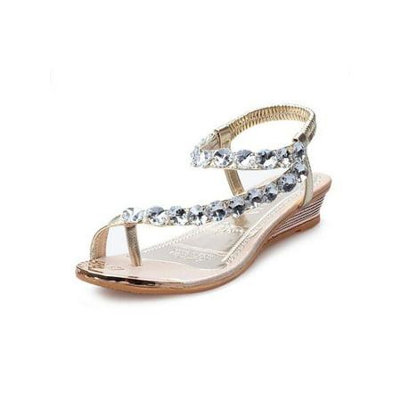 Diamante Sandals (Meigar Womens Sandals Diamante Rhinestone Sandal Flip Flops Wedding Party Shoes Low Heel)