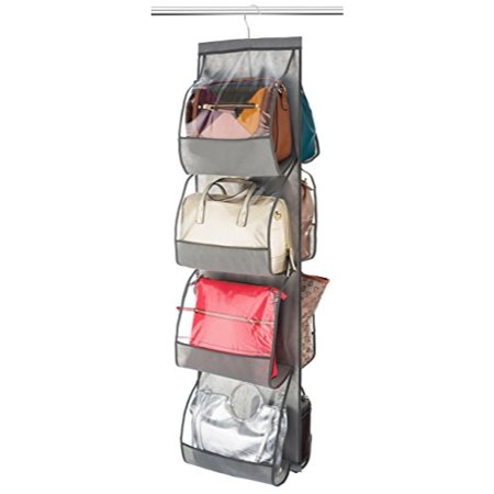 """Zober Hanging Purse Organizer For closet Clear Handbag Organizer For Purses, Handbags Etc. 8 Easy Access Clear Vinyl Pockets With 360 Degree Swivel Hook, Gray, 47"""" L x 12 ¼"""" W"""