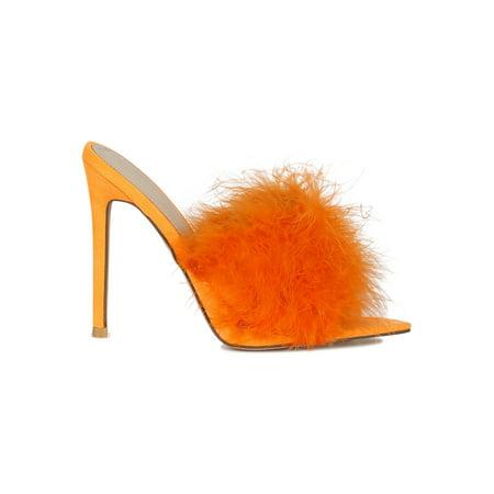 9b0c28622a9 Women Faux Fur Open Pointy Toe Stiletto Mule Heel Sandal 18590