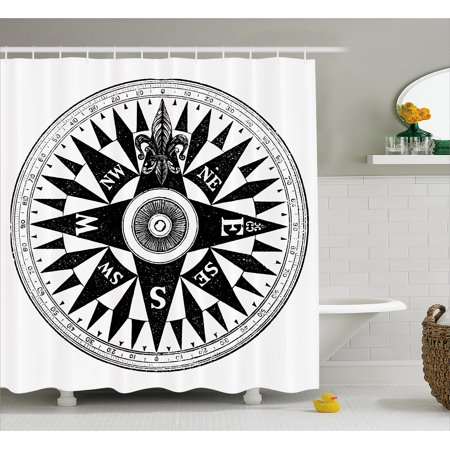 Compass Shower Curtain Vintage British Navy In Black And White Discovery Of The New
