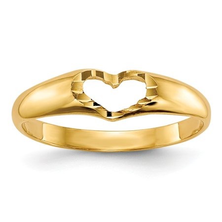 14k Gold Childrens Ring - IceCarats 14k Yellow Gold Childrens Heart Band Ring Size 3.00  Baby