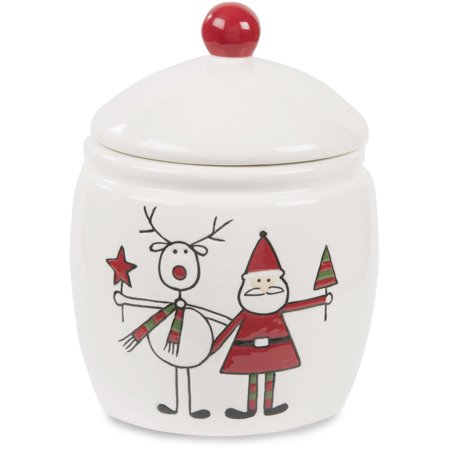 Holiday Hoopla - Santa and Reindeer 6 Inch Ceramic Christmas Jar