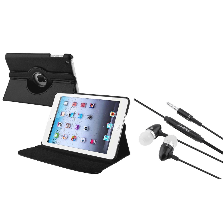 iPad Mini 3/2/1 Case, by Insten Black 360 Swivel Leather Case+3.5mm Headset...