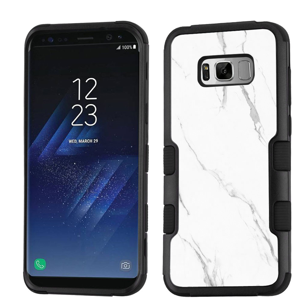 Fit Galaxy S8, One Tough Shield 3-Layer Hybrid Shock Absorbing Phone Case for Samsung Galaxy S8 - Marble/White