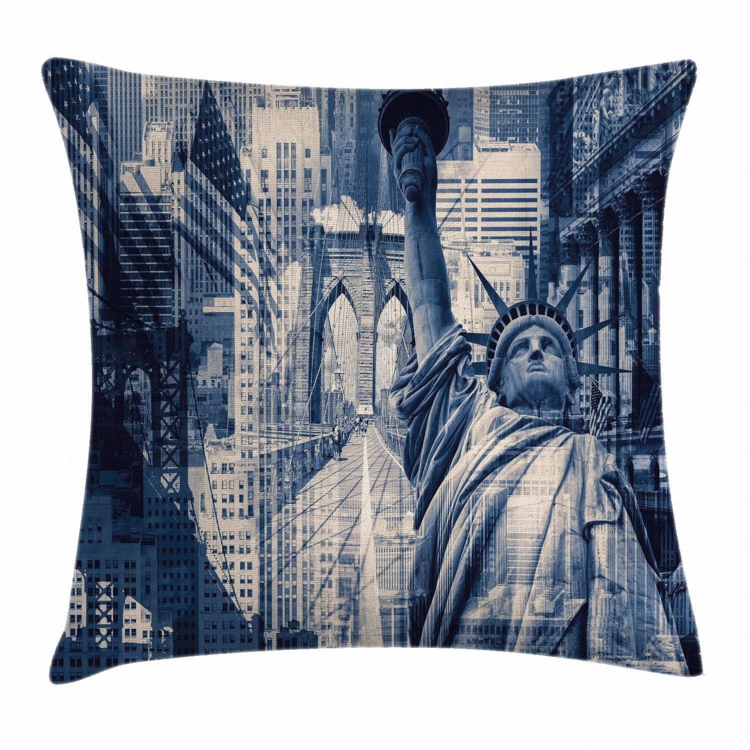 United States Throw Pillow Cushion Cover Double Exposure Image Of Statue Of Liberty With New York Buildings Decorative Square Accent Pillow Case 16 X 16 Inches Dark Blue Purplegrey By Ambesonne