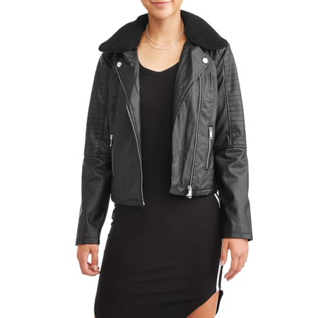 Shearling Leather Coat - New Look Juniors' Faux Shearling Collar Moto Jacket