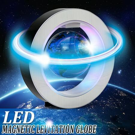 4.0 Inch Magnetic Levitation Floating World Globe Map Round Shape Magnetic Levitation Floating World Map Globe Rotating with LED Light Round Crystal Globe