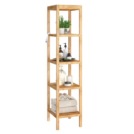 LANGRIA Bamboo Shelf 5-Tier Storage Shelving, Free Standing Kitchen Rack, Corner Shelf, Display Stand for Living Room, Hallway, Balcony