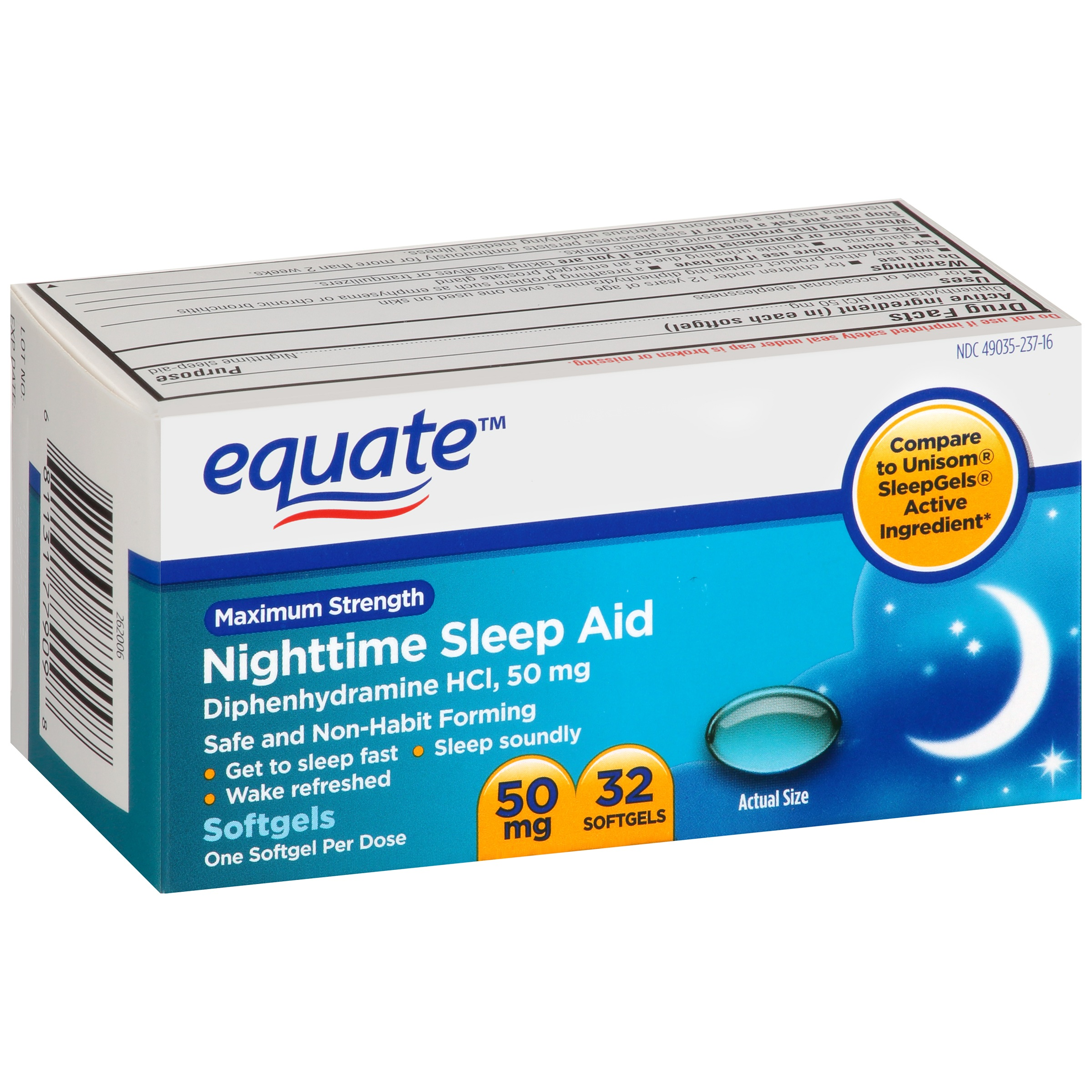 Equate Maximum Strength Sleep Aid Liquidcaps, 32 Ct