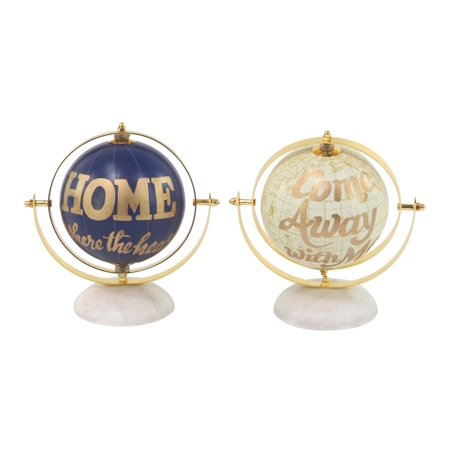 Decmode Modern Aluminum And Pvc Gold And Blue Globes, Blue - Set of 2