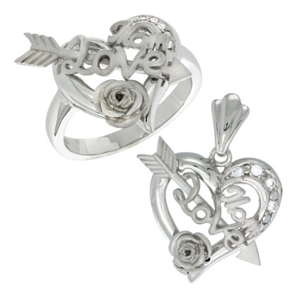 Sterling Silver LOVE MOM Cupid's Bow & Rose Heart Ring & Pendant Set CZ Stones Rhodium Finished