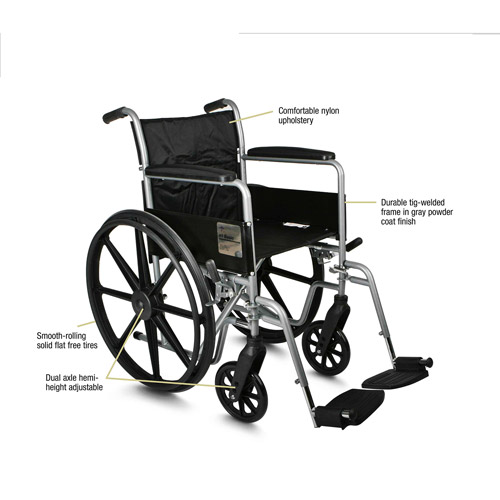"Medline K4 Basic 18"" Wheelchair, Elevating Legrests, Desk Length Arms"