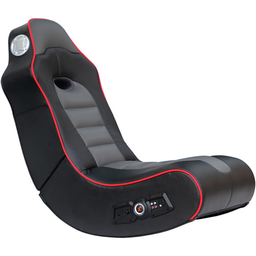 X Video Rocker Surge 2.1 Audio Gaming Chair with Bluetooth, Black/Gray/Red Piping, 5172601