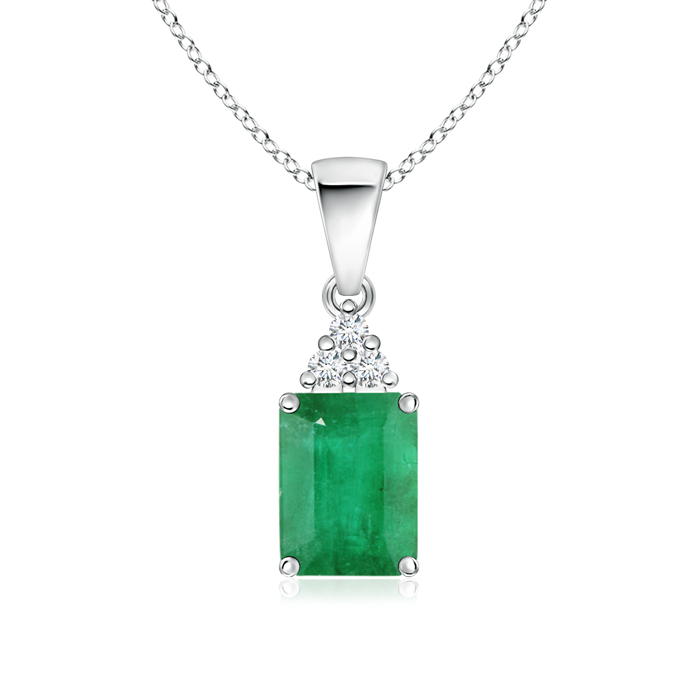 May Birthstone Pendant Necklaces Prong Set Emerald Cut Emerald Pendant with Diamond in 950 Platinum (8x6mm Emerald)... by Angara.com