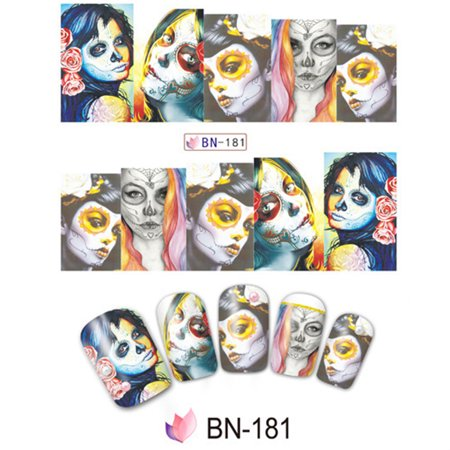 10pcs Halloween Skull Nail Wraps Medical Grade Stickers Set Adhesive Polish Foils Nail Art Tool Safe&Non-toxic, Not Easy to Fall off (Easy Halloween Makeup Tutorial Skull)
