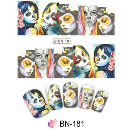 10pcs Halloween Skull Nail Wraps Medical Grade Stickers Set Adhesive Polish Foils Nail Art Tool Safe&Non-toxic, Not Easy to Fall off BN-181 - Halloween Fairy Nails