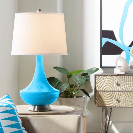 Color Plus Sky Blue Gillan Glass Table Lamp Walmart Com