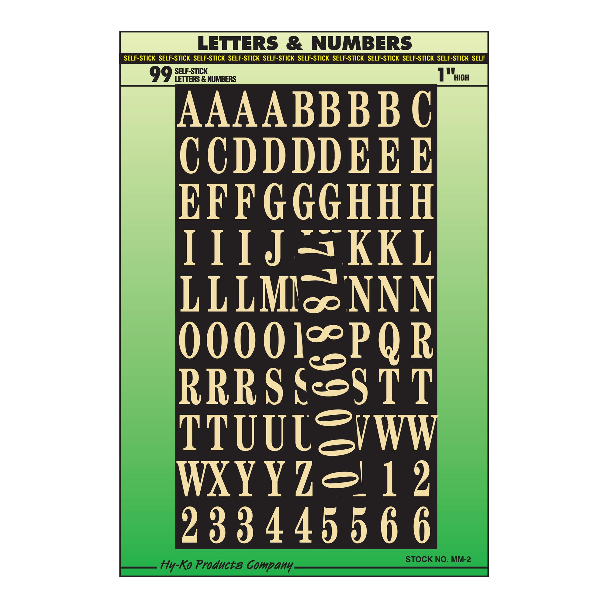 "Self-Stick 1"" Letter and Number Set, Gold"