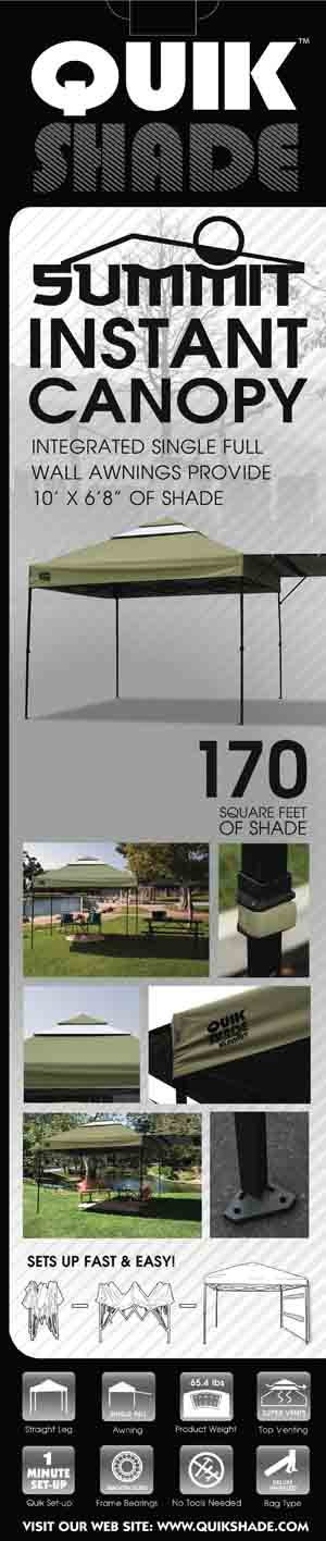 Quikshade Summit 10x10 Straight Leg Canopy With Awningkhaki Top