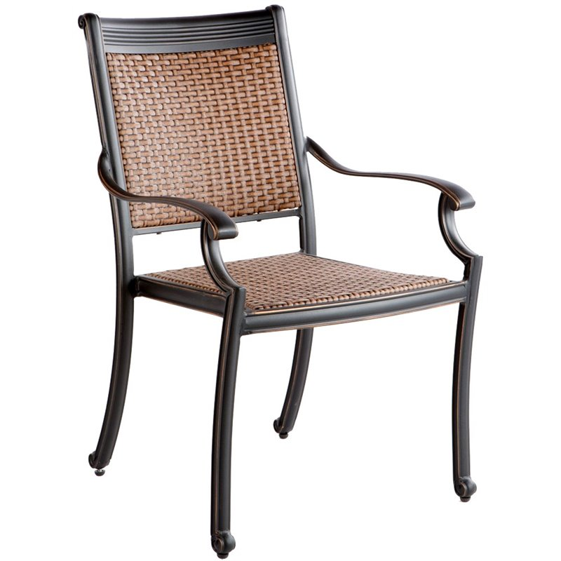 Alfresco Pilot Wicker Stackable Patio Dining Arm Chair (S...