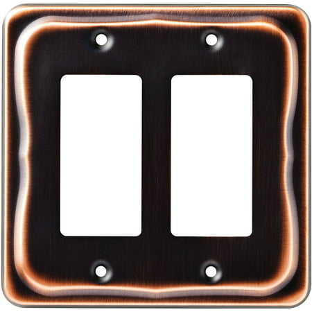 Renaissance Dark Bronze Wall - Tenley Double Decorator Wall Plate, Bronze